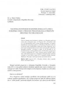 Nacionalni interesi susjednih zemalja članica Europske unije u procesu pregovaranja o pristupu Hrvatske toj organizaciji / Mario Nobilo