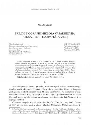 Prilog biografiji Miklósa Vásárhelyija (Rijeka, 1917. - Budimpešta, 2001.) / Nina Spicijarić