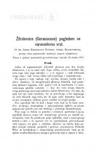 Ždralovnice (Geraniaceae) pogledom na naravoslovnu vrst / J. Schlosser Klekovski