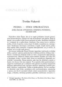 Pjesma - stroj opkoračenja : Anka Žagar: Stvarnice, nemirna površina, Zagreb, 2008. / Tvrtko Vuković