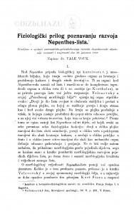 Fiziologički prilog poznavanju Nepenthes-lista / V. Vouk