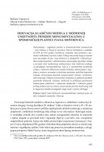 Derivacija klasičnih modela u modernoj umjetnosti : primjeri monumentalizma u spomeničkoj plastici Ivana Meštrovića / Barbara Vujanović