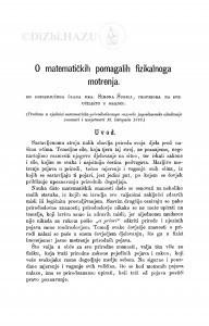 O matematičkih pomagalih fizikalnoga motrenja / S. Šubić