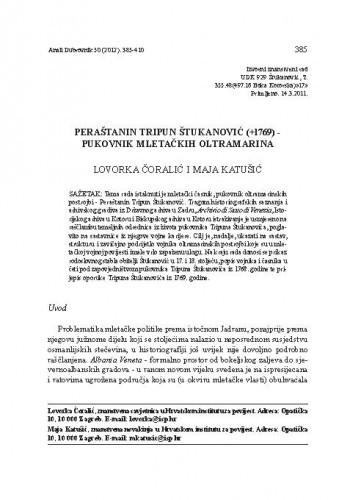 Peraštanin Tripun Štukanović (+1769) - pukovnik mletačkih oltramarina / Lovorka Čoralić, Maja Katušić