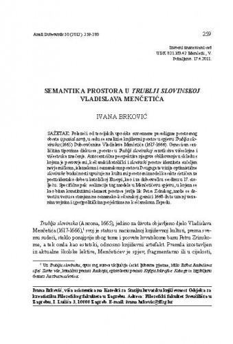 Semantika prostora u Trublji slovinskoj Vladislava Menčetića / Ivana Brković