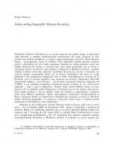 Jedan prilog biografiji Viktora Kovačića / Žarko Domljan
