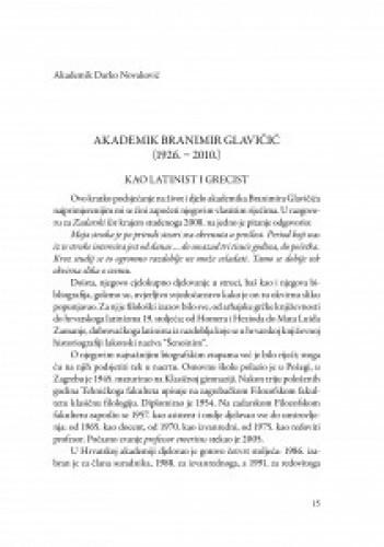 Akademik Branimir Glavičić (1926.-2010.) : kao latinist i grecist / Darko Novaković