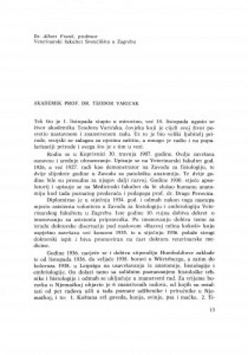 Akademik prof. dr Teodor Varićak / A. Frank