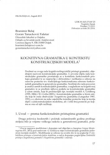 Kognitivna gramatika u kontekstu Konstrukcijskih modela / Branimir Belaj, Goran Tanacković Faletar