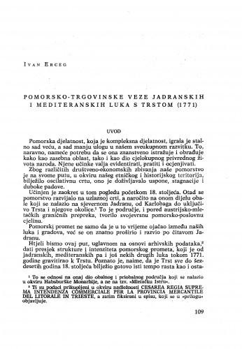 Pomorsko-trgovinske veze jadranskih i mediteranskih luka s Trstom (1771.) / Ivan Erceg