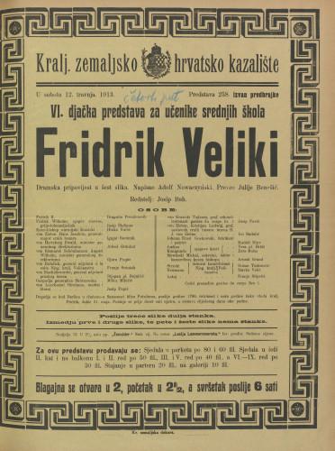 Fridrik Veliki : Dramska pripovijest u šest slika