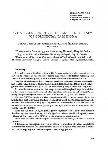 Cutaneous side effects of targeted therapy for colorectal carcinoma