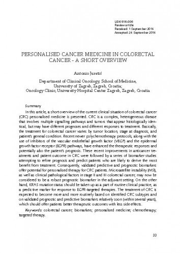 Personalised cancer medicine in colorectal cancer - a short overview