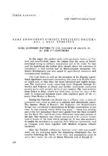 Neki ekonomski činioci povijesti Osijeka XVI. i XVII. stoljeća