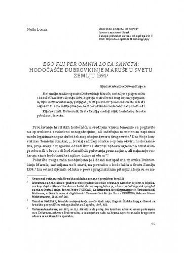 Ego fui per omnia loca sancta: hodočašće Dubrovkinje Maruše u Svetu Zemlju 1394.