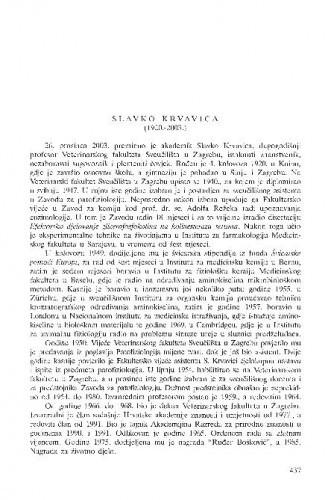 Slavko Krvavica (1920.-2003.) : [in memoriam] / Ante Svetina