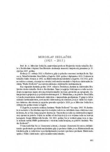 Miroslav Sedlaček (1925.-2015.) : [nekrolog] / Leo Budin
