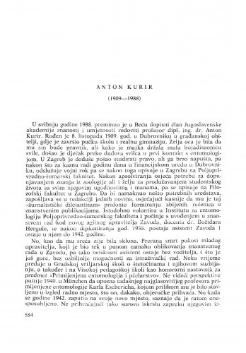 Anton Kurir (1909-1988) : [nekrolozi] / Zdravko Lorković