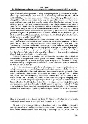 Žene u srednjovjekovnoj Bosni, ur. Emir O. Filipović, Društvo za proučavanje srednjovjekovne bosanske historije Stanak, Sarajevo 2015. : [prikaz]