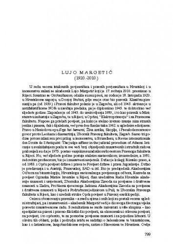 Lujo Margetić (1920.-2010.) : [nekrolog] / Petar Strčić