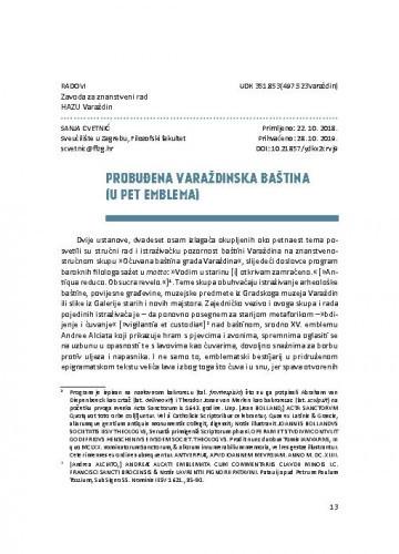 Probuđena varaždinska baština (u pet emblema) / Sanja Cvetnić