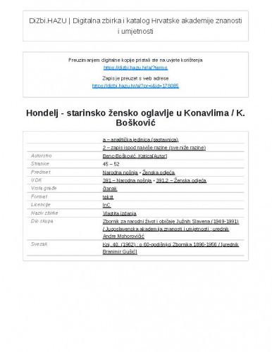 Hondelj - starinsko žensko oglavlje u Konavlima / K. Bošković