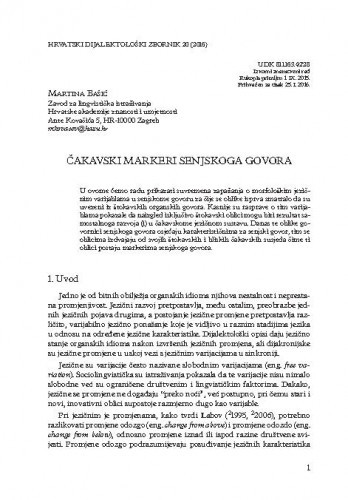 Čakavski markeri senjskoga govora / Martina Bašić