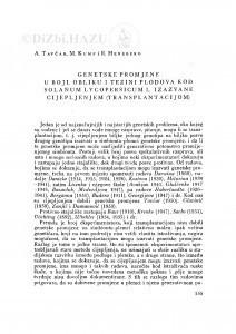 Genetske promjene u boji, obliku i težini plodova kod Solanum lycopersicum L. izazvane cijepljenjem (transplantacijom) / A. Tavčar, M. Kump i R. Heneberg