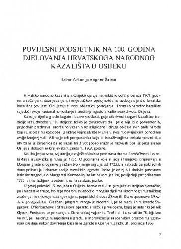 Povijesni podsjetnik na 100. godina djelovanja Hrvatskoga narodnog kazališta u Osijeku / izbor Antonija Bogner-Šaban