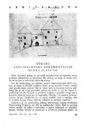 Obrada arhitektonske dokumentacije dvora Slavetić / Stanka Krstić i Štefica Habunek-Moravec