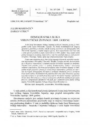 Demografska slika Virovitičke županije 1869. godine / Julijo Martinčić, Darko Vitek