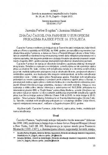 Značaj Časoslova Farnese u europskim prikazima rajske ptice 16. stoljeća / Jasenka Ferber Bogdan, Jasmina Mužinić