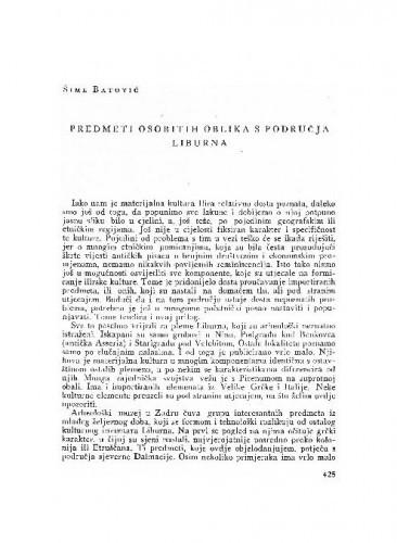 Predmeti osobitih oblika s područja Liburna / Šime Batović