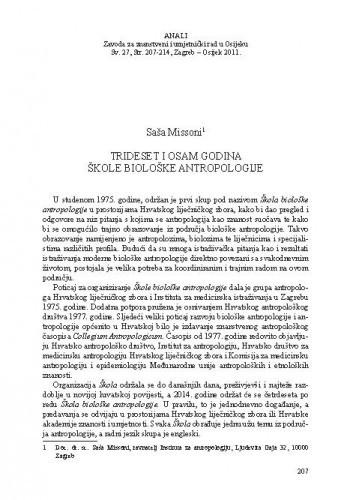 Trideset i osam godina Škole biološke antropologije / Saša Missoni