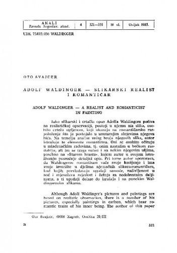 Adolf Waldinger - slikarski realist i romantičar / Oto Švajcer