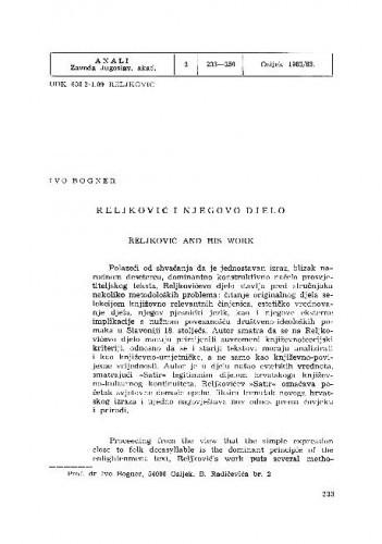 Reljković i njegovo djelo / Ivo  Bogner