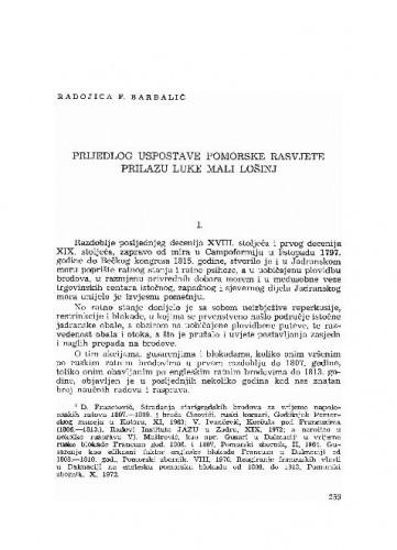 Prijedlog uspostave pomorske rasvjete prilazu luke Mali Lošinj / Radojica F. Barbalić