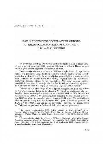 Rad Narodnooslobodilačkih odbora u srednjodalmatinskim okruzima 1941-1945. godine / Neva Scotti-Žurić