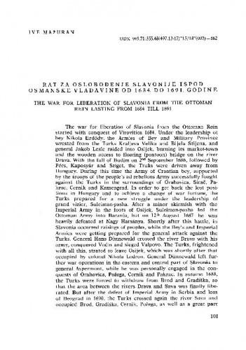Rat za oslobođenje Slavonije ispod osmanske vladavine od 1684. od 1691. godine / Ive Mažuran
