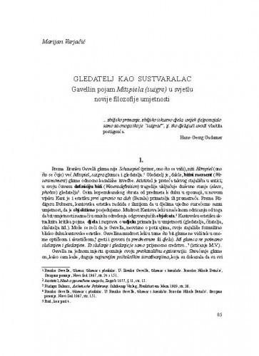 Gledatelj kao sustvaralac. Gavellin pojam Mitspiela (suigre) u svjetlu novije filozofije umjetnosti / Marijan Varjačić