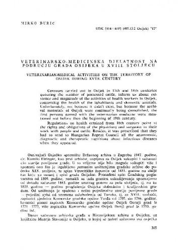 Veterinarsko-medicinska djelatnost na području grada Osijeka u XVIII. stoljeću / Mirko Burić