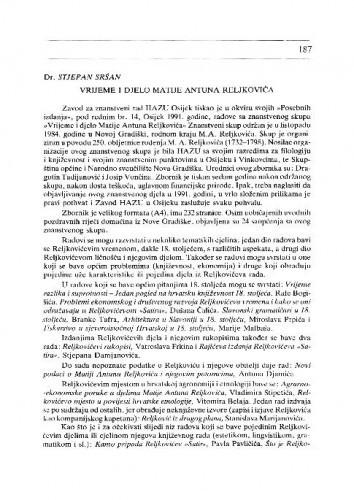 Sršan, Stjepan: Vrijeme i djelo Matije Antuna Reljkovića. Osijek, 1991. / Vlado Horvat