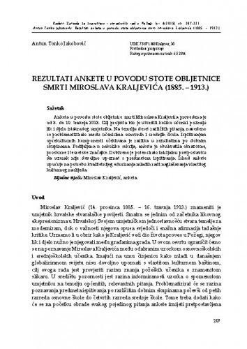 Rezultati ankete u povodu stote obljetnice smrti Miroslava Kraljevića (1885.-1913.) / Antun Tonko Jakobović