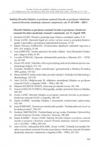 Sadržaj Zbornika Odsjeka za povijesne znanosti Zavoda za povijesne i društvene znanosti Hrvatske akademije znanosti i umjetnosti, vol. 17-25 (1999. - 2007.) / Zoran Ladić, Tihana Luetić
