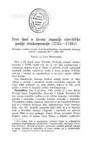 Prvi dani u životu županije virovitičke poslije reinkorporacije (1745-1749.) / J. Bösendorfer