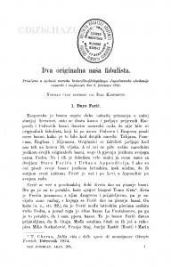 Dva originalna naša fabulista : <1.> Đuro Ferić; 2. Urban Apendini / I. Kasumović