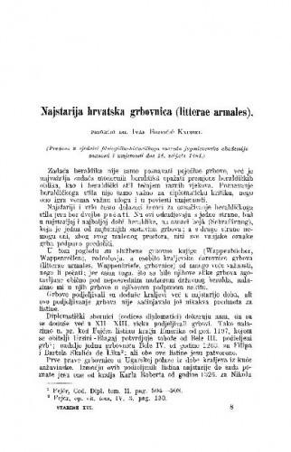 Najstarija hrvatska grbovnica (litterae armales) / Ivan Bojničić Kninski