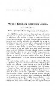 Osobine današńega sarajevskog govora / Đ. Šurmin