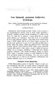 Ivan Zakmardi, protonotar kraljevstva hrvatskoga / K. Horvat