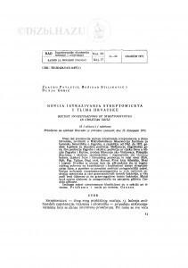 Novija istraživanja streptomiceta u tlima Hrvatske / Z. Pavletić, B. Stilinović i D. Grbić